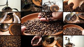 Coffee grinder with coffee beans. Montage composition collage on coffee grinder with coffee beans. Video wall with multiple moving footage at barista grinding stock video footage
