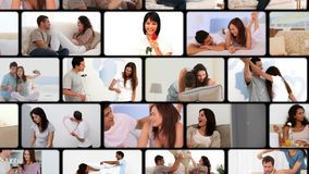 Montage of couples hugging Royalty Free Stock Photo