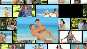 Montage of couples sharing moments together stock video