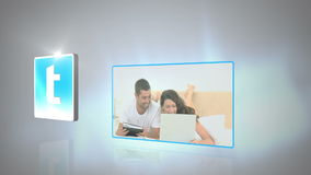 Montage of couples using media devices. Montage of couple using media devices with social network symbols on glowing white and grey background stock video footage