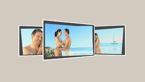 Montage of a cute couple relaxing on the beach. During their holidays stock footage