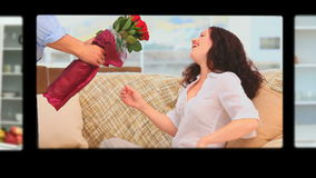 Montage of cute couples. Celebrating Valentines day stock footage