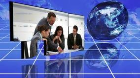 Montage d'affaires à côté des graphiques animés et d'un globe banque de vidéos