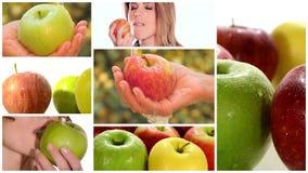 Montage d'Apple comprenant des fruits et des jeunes femmes en bonne santé clips vidéos