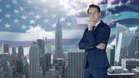 Montage de la position belle d'homme d'affaires banque de vidéos