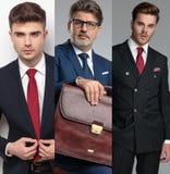 Montage de photo de trois portraits des hommes occasionnels photos stock