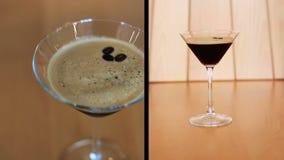 Montage der Darstellung des Kaffeecocktails mit Bohnen auf Tabelle stock video footage