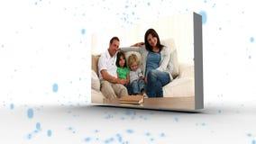 Montage der Familie befestigt mit dem blauen Partikelfallen stock footage