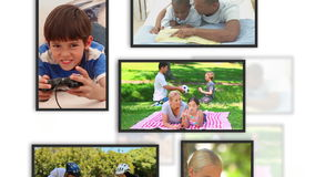 Montage der Familie befestigt in Rahmen stock footage