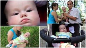 Montage der glücklicher Familienmutter, -vaters und -babys stock footage