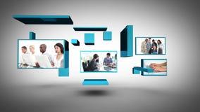 Montage des Bürolebens mit Kopienraum am Ende stock footage