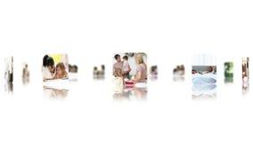 Montage des Familienvideoclips, die eine Hand durch in einer Liste verzeichnet stock footage