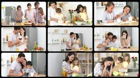 Montage des familles caucasiennes dans la cuisine banque de vidéos