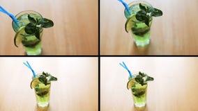 Montage des frischen Cocktails mit Grüns auf Tabelle stock video footage