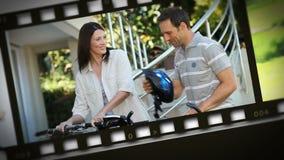 Montage des glücklichen Paars zu Hause stock video