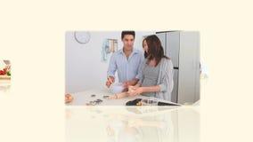 Montage des Kochens von Familien stock video