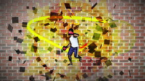 Montage des Mannes übend kickboxing stock video footage