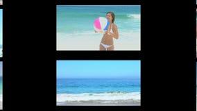 Montage des personnes sur le bord de la mer clips vidéos