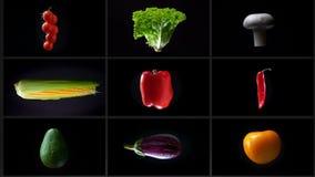 Montage des Spinnens des nassen verschiedenen Gemüses, auf einem weißen Hintergrund, Collage stock footage