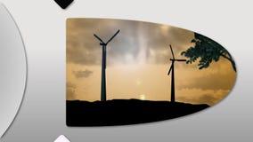 Montage, die das Konzept von Windenergie darstellt stock video