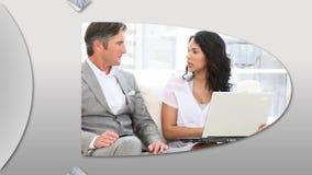 Montage, die selfassured Geschäftsleute bei der Arbeit darstellt vektor abbildung