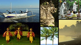 Montage of different clips with typical views and music of Bali, Indonesia. Royalty Free Stock Images