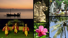Montage of different clips with typical views and music of Bali, Indonesia. Royalty Free Stock Image