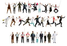 Montage about different professions. Collage of different professions. Group of men, women in uniform running at studio isolated on white. Full length of people royalty free stock photography