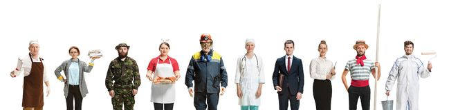 Montage about different professions royalty free stock image