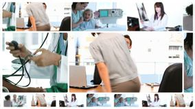 Montage of doctors with their patients Stock Images