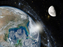 Montage of the earth, the galaxy and the moon. Elements of this Stock Photography