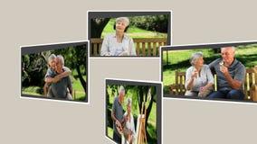 Montage einer der im Ruhestand entspannenden Außenseite Paare stock footage