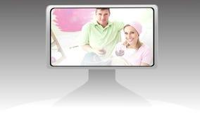 Montage einer Laufschrift, die Paarbilder zeigt stock video