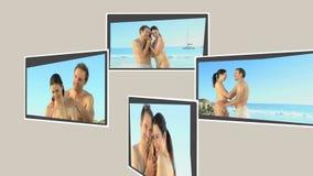 Montage eines netten Paares, das auf dem Strand sich entspannt stock footage