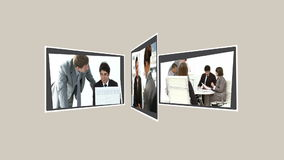 Montage einiger Geschäftsleute, die zusammen sprechen stock footage
