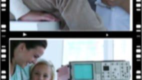 Montage einiger Situationen in einem Krankenhaus stock video footage