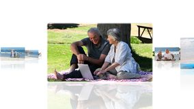 Montage of elderly couples relaxing outdoors Stock Images