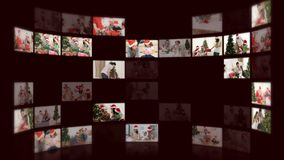 Montage of families celebrating christmas