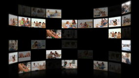 Montage of families in different situations Royalty Free Stock Photography