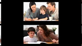 Montage of families doing homework stock video footage