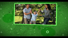 Montage of family outdoors clips on cellular background stock footage