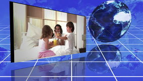 Montage of family videos next to turning globe Royalty Free Stock Image