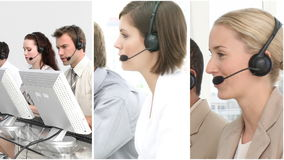 Montage footage of a business call centre stock footage