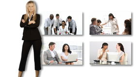 Montage footage showing female leadership in Business stock footage