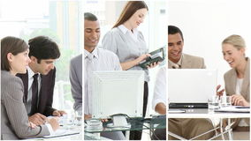 Montage footage showing people in the workplace stock footage