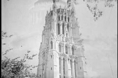 Montage - Grant's Tomb and cathedral in New York City, 1930s stock video footage