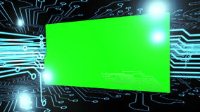 Montage of green screens on a circuit board stock video