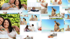 Montage of happy couples spending special time together Royalty Free Stock Photos