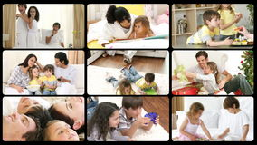 Montage of happy families playing at home Royalty Free Stock Image