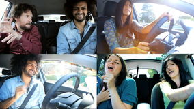 Montage of happy people driving dancing and singing stock video